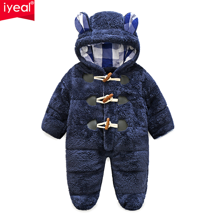 IYEAL Winter Newborn Baby Boy Rompers Thermal Cotton Warm Thickening Jumpsuits Coral Fleece Hooded Girls Outwear Infant Clothes
