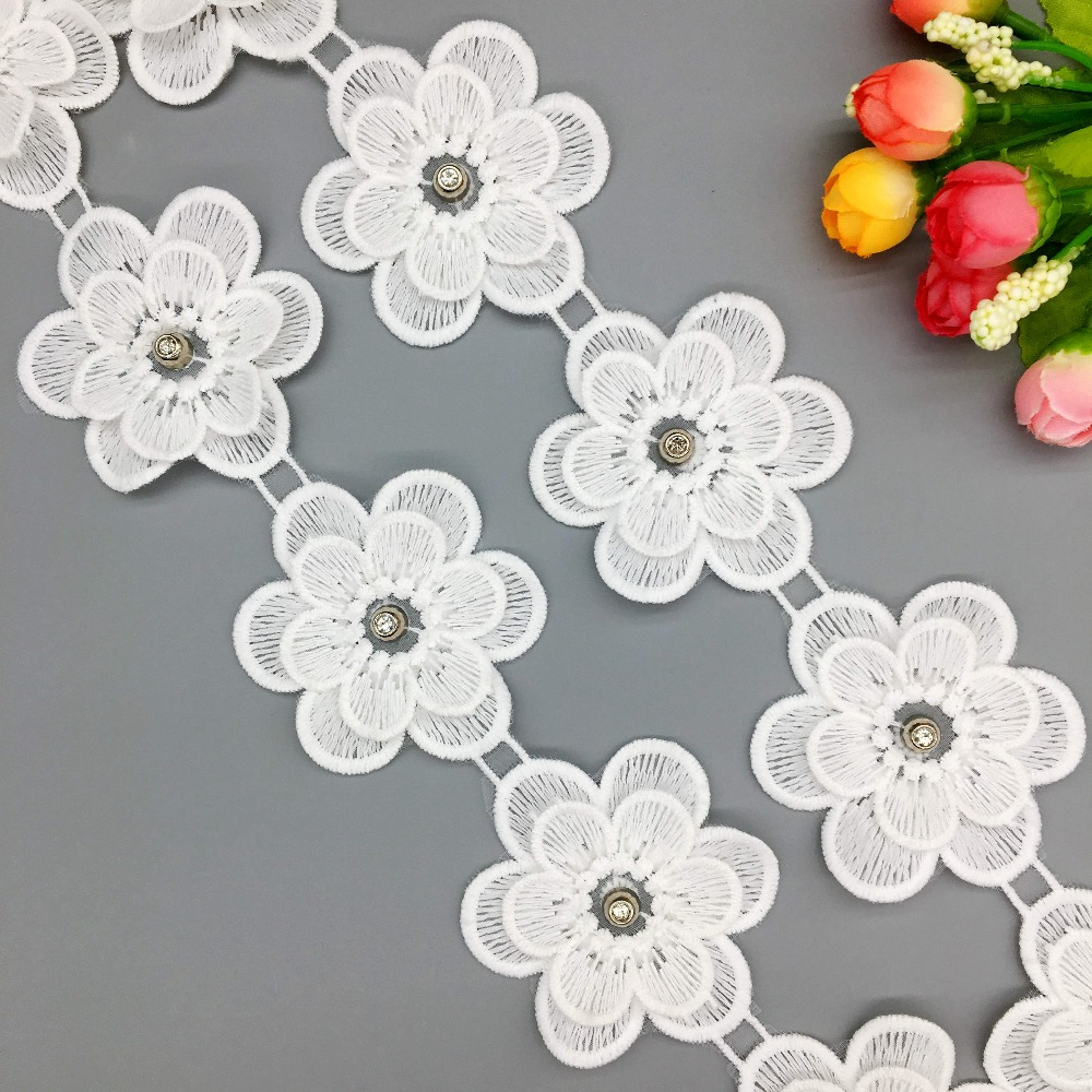 Gxinug 1 Yard Soluble Silk Flower Banner Decoration Lace Trim Wedding Embroidered Diy Handmade Patchwork Sewing Supplies Crafts Lace Aliexpress