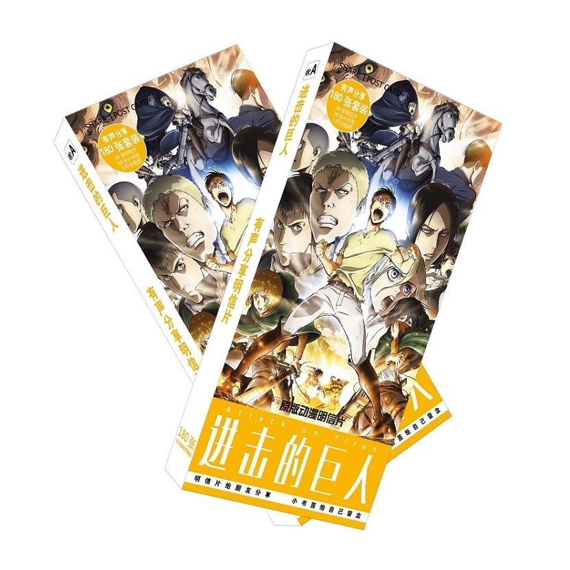 все цены на 180pcs/Set Anime Attack On Titan Postcard/Greeting Card/Message Card/Christmas and New Year gifts онлайн
