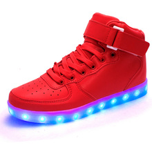 Free Shipping Men Women 8 Colors High Top LED Shoes for Adults White Black Glowing Light Up Flat Shoes Luminous USB Recharging