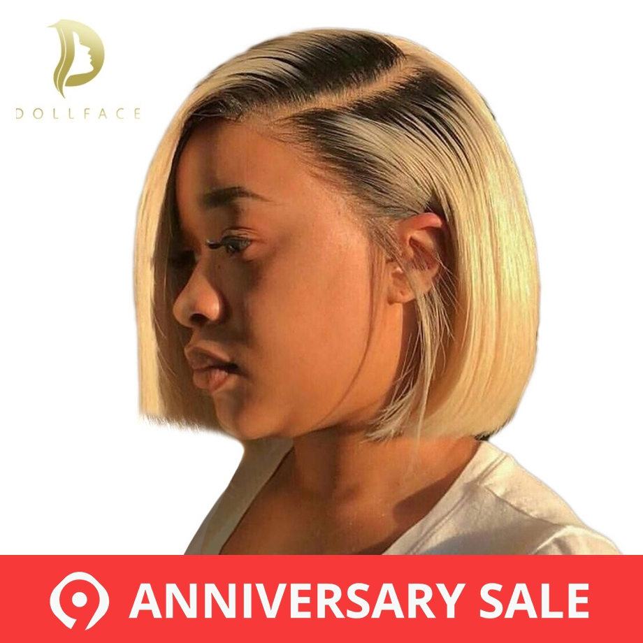 Short Lace Front Human Hair Wigs Natural Color Blonde 613 Ombre 4 Colors Brazilian Remy Hair