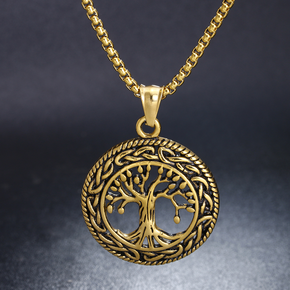 Zmzy punk gold color stainless steel family tree pendants zmzy punk gold color stainless steel family tree pendants necklaces for men jewelry in pendant necklaces from jewelry accessories on aliexpress aloadofball Choice Image