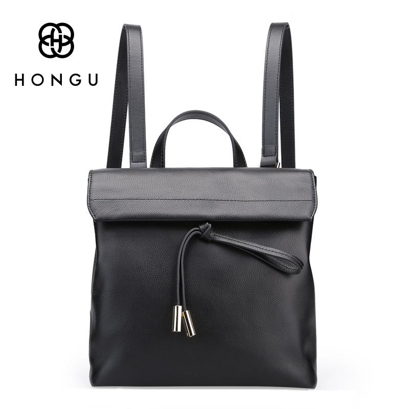 HONGU Women Genuine Leather Backpacks Brand Ladies Fashion Backpacks For Teenagers Girls School Bags Travel Bags Mochila Black new brand designer women fashion backpacks simple koran style school for teenager girls ladies shoulder bags black