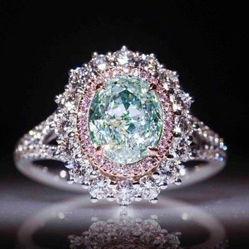 Fashion Pink Super Shiny Crystal Ring Mosaic Green/blue Women  Style Knuckle Finger Rings Female Jewelry Ornaments 6-10