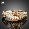 AZORA Gold Plated 1pcs Oval And 2pcs Triangle Shaped Cubic Zirconia Ring TR0137