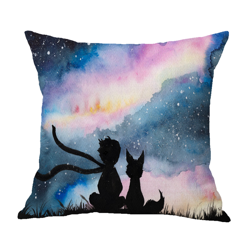 Kids Room Decoration Fairy Tale Little Prince Sofa Throw Pillow Case Cute Cartoon Stars Picking Animals Children Cushion Cover