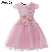 Mottelee Girls Dress Elegant Children Princess Frocks Tulles Baby Dresses Kids Flower Wedding Party Gowns Prom Dress for Girl