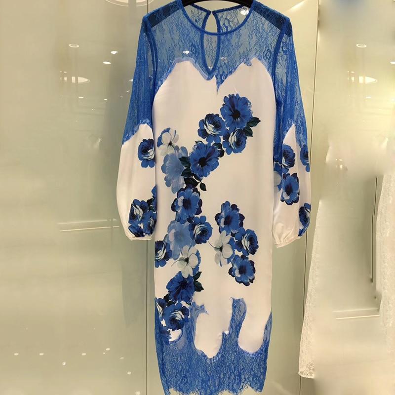 Bohemian Printed Women Dress Party Dress Spring Summer O neck Sexy Long Sleeve Chiffon Long Dress