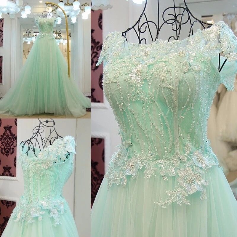 Luxury Ball Gown Fluffy Tulle Lace Crystal Beads Sequins 2019 New Evening Dress Party Gowns Dress