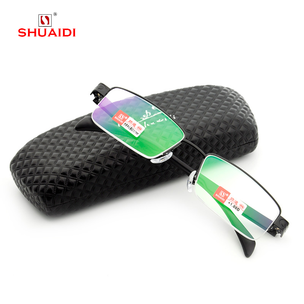 = SHUAI DI= Simple Ably Commercial TR90 Ultralight Reading <font><b>Glasses</b></font> With Case Multilayer Coated Lens +1 +1.<font><b>5</b></font> +<font><b>2</b></font> +<font><b>2</b></font>.<font><b>5</b></font> +3 +3.<font><b>5</b></font> +4 image