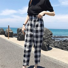 2019 Women Spring New Style Casual Slim Fit Solid Color Elbow Sleeve Plaid Pants 2 piece set women festival clothing все цены