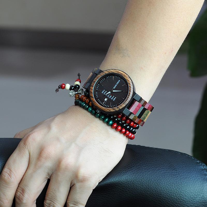 BOBO BIRD Luxury Design Auto Date Handmade Wooden Watch for Men 14