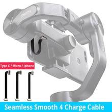 75mm Nahtlose Glatte 4 Lade blitz Kabel Typ C Kabel Micro USB Kabel für Samsung iphone 7 8 x HUAWEI Zhiyun Glatte 4