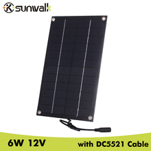 SUNWALK Semi-flexible 6W 12V Mono Solar Panel Charger with DC5521 Cable Mini Solar panel for Charging 12V Car Battery 12V Device