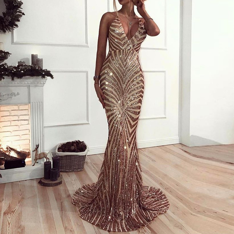 Elegant Sleeveless Deep V Neck Party Dresses Gold Black Sequined Maxi Dresses Backless Bodycon Evening Club Mermaid Dress