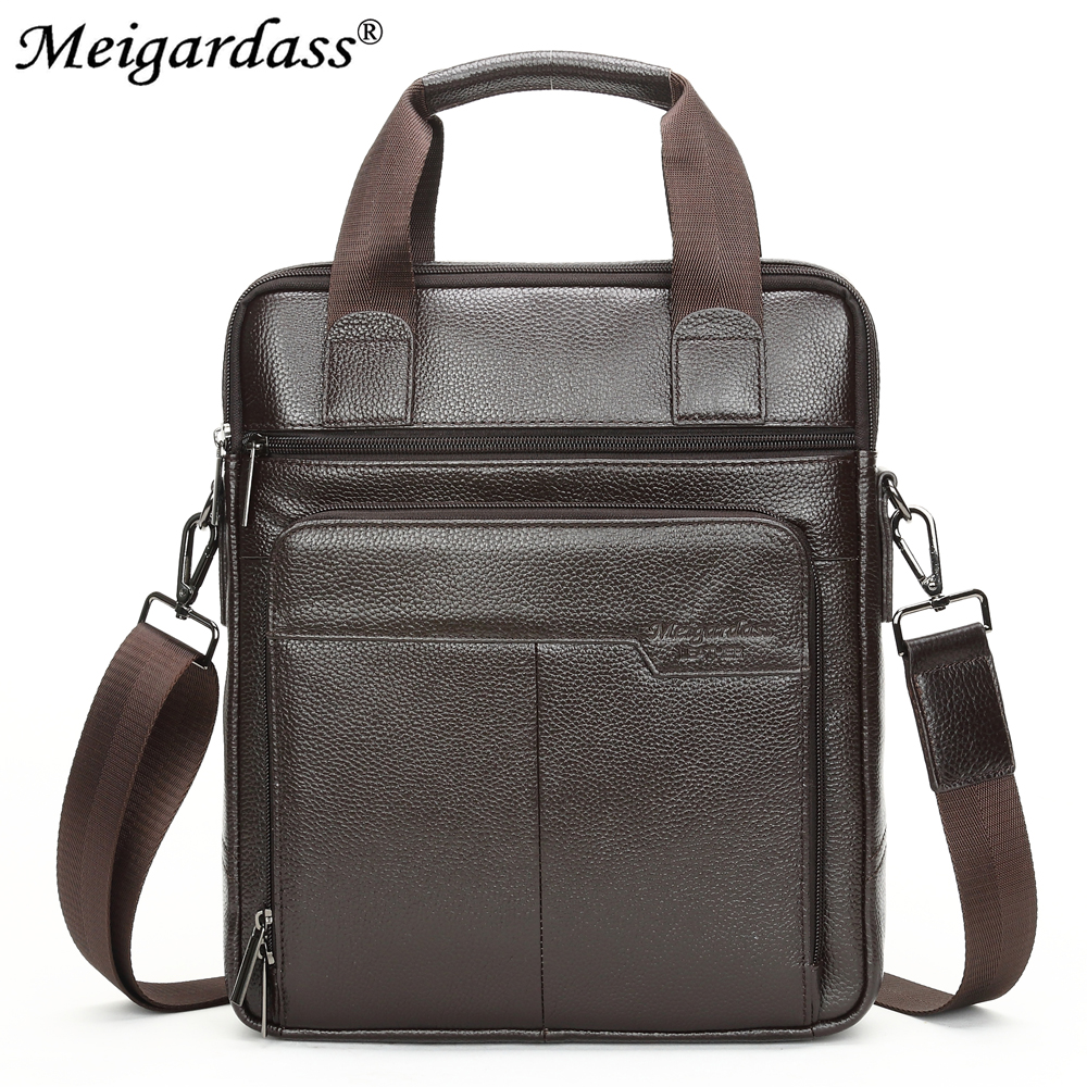 Image 4 - MEIGARDASS Genuine Leather Business Briefcase Men Travel Shoulder  Messenger Bags Male Document Handbags Laptop Computer BagBriefcases
