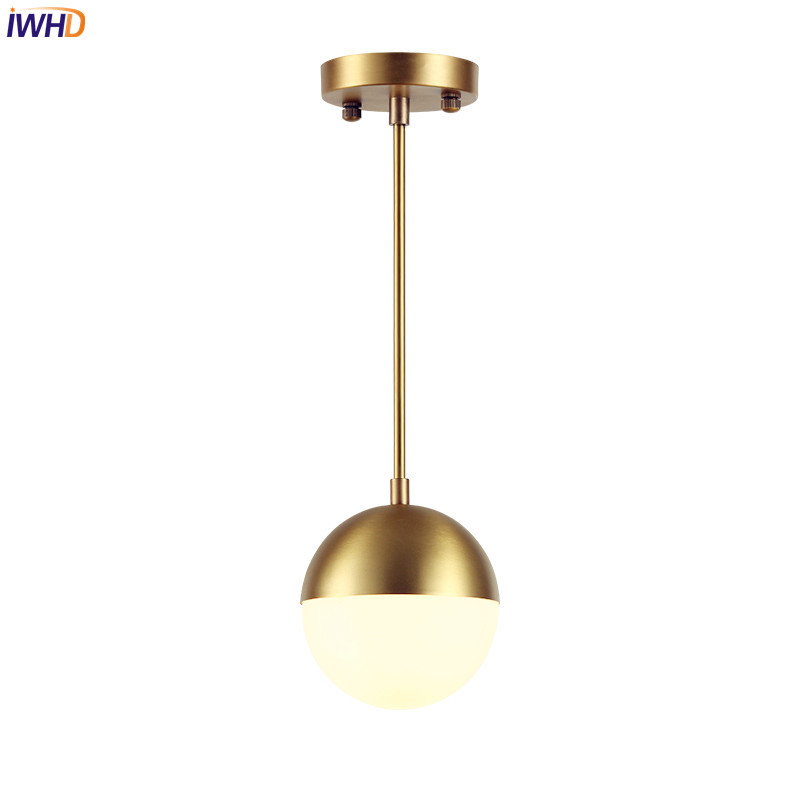 IWHD Brass Glass Ball LED Pendant Lights Fixtures Dinning Room Nordic Simple Modern Pendant Lamp Hanging Light Lampara Colgante