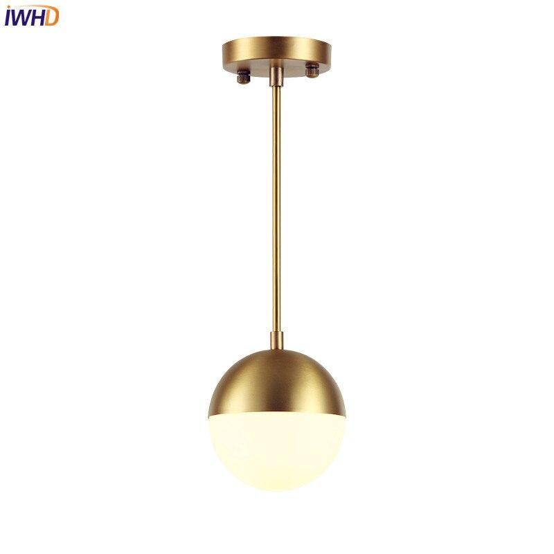 IWHD latón bola de cristal LED lámparas comedor nórdico ...