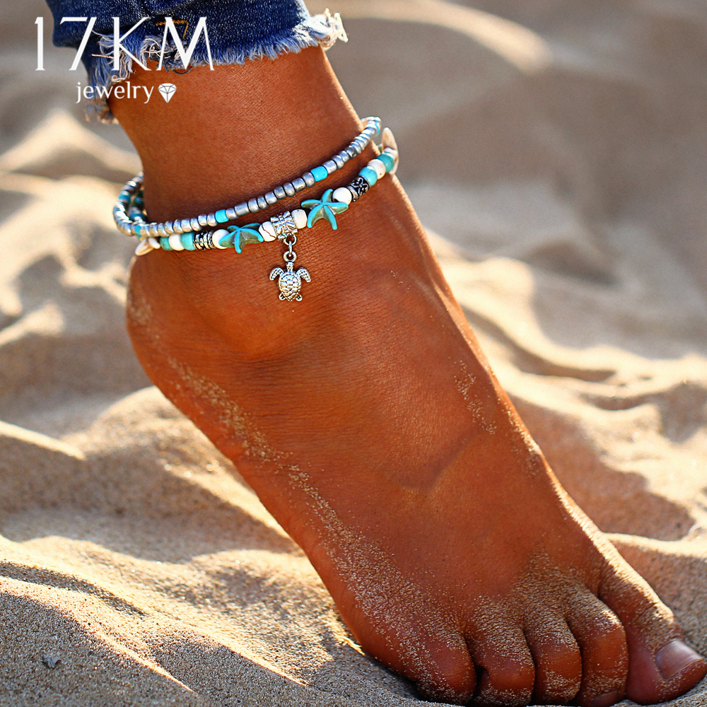 17KM New Design Shell Anklet Beads Starfish Anklets For Women Multi Layer Bracelet Handmade Bohemian Leg Jewelry Sandals Gift
