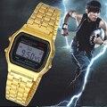 Модная Пара Часы цифровые часы площади военнослужащих/женщины одеваются спортивные часы whatch женщины золото