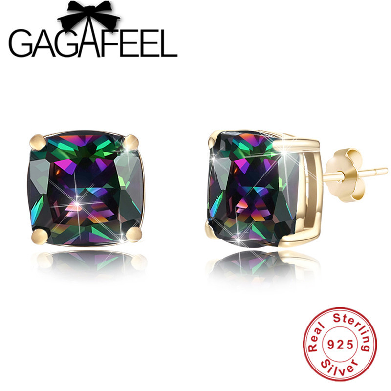 GAGAFEEL 925 Sterling Silver Rainbow Crystal Stud Earrings for Girl Women Romantic Wedding Anniversary Gift Fine Jewelry