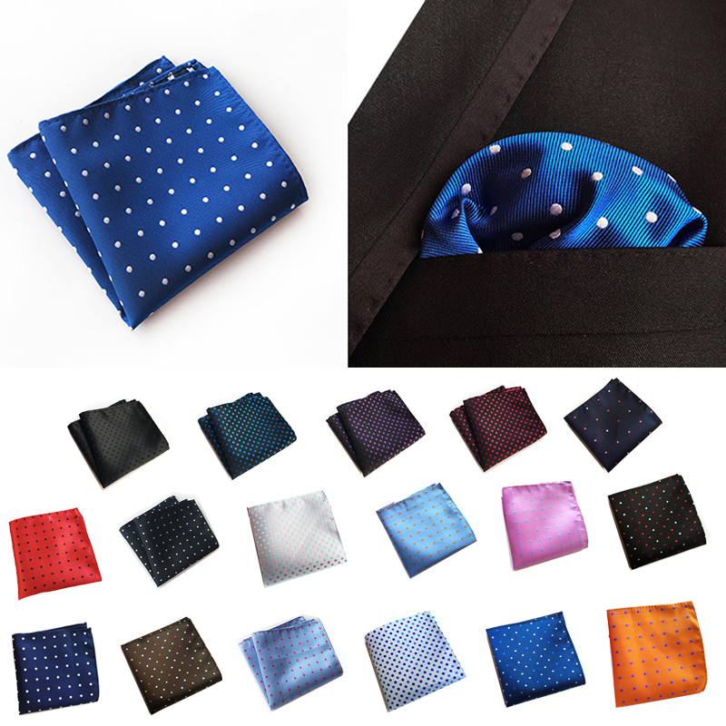 25 Cm High Quality Polyester Dot Pocket Square Silk Like For Men Handkerchief