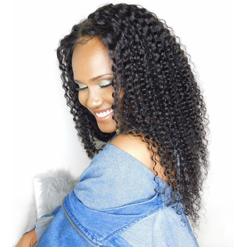 Kinky Curly Wig Pre Plukket Lace Front Human Hair Parykker Med Baby Hair 130% Brazilian Glueless Full Bluse Paryk For Kvinder Black Remy