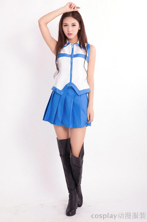 Girls New Costumes Anime Fairy Tail  Cosplay Dress Set  Cute Suit Tops and Skirt Girls  2 Pieces /set