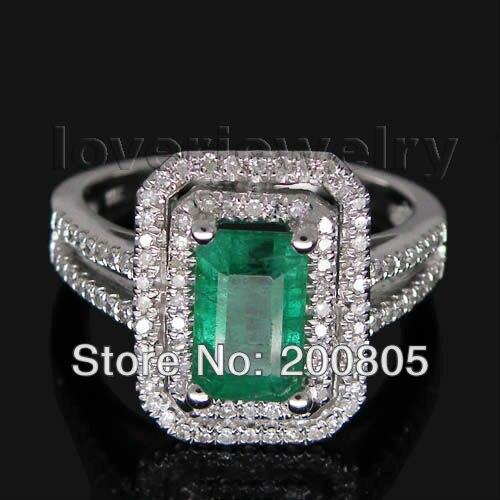 Винтаж изумрудная огранка 5x8 мм одноцветное 14kt белого золота с бриллиантами Изумрудное кольцо 2T018