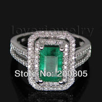 Vintage Emerald Cut 5x8mm Solid 14kt White Gold Natural Diamond Emerald Ring 2T018