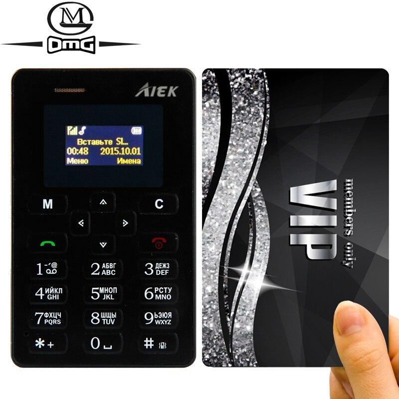 Clavier russe AIEK M5 Mince mini Carte Mobile Téléphone 4.5mm Ultra Mince Poche cellulaire Téléphones Low Radiation AEKU