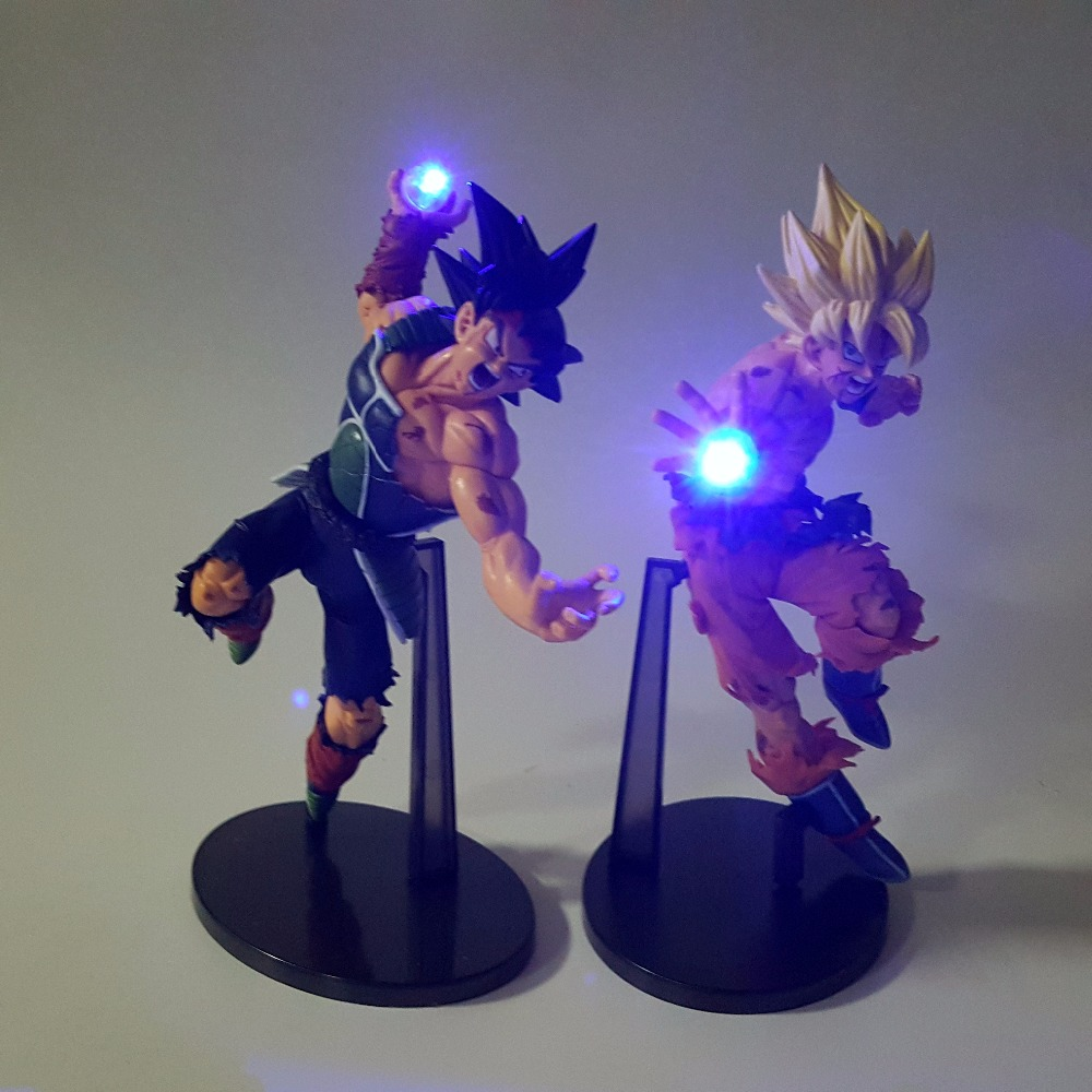 Dragon Ball Z Action Figures Son Goku Burdock Kamehameha Led Light 150mm Anime Dragon Ball Super Saiyan DBZ dragon ball z god goku super saiyan led light action figures anime dragon ball z dbz fes god son goku table lamp room decor