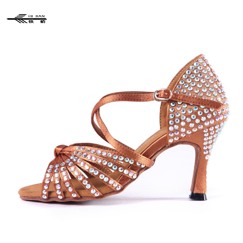 New Women Crystal Rhinestone Ballroom Latin SALSA Tango Dance Shoes All Size