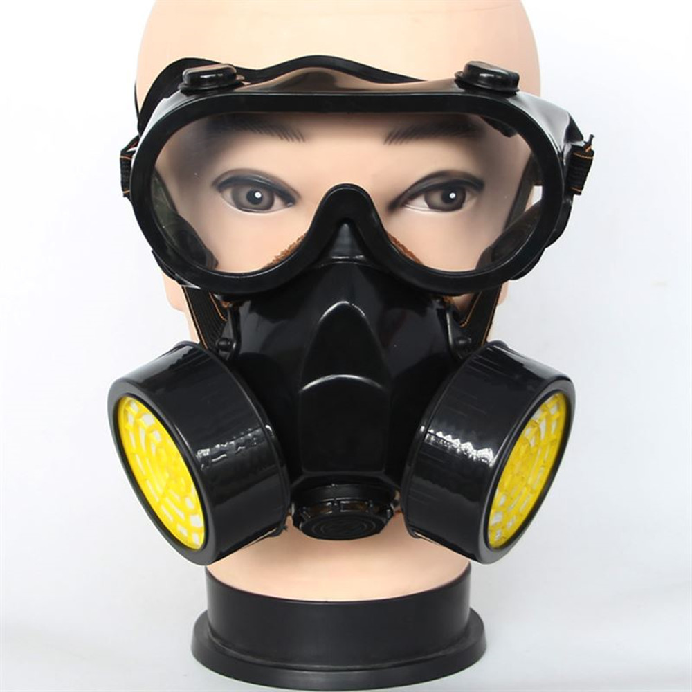 Pro Double Cans Gas Mask Respirator with Goggles Anti-Gas Anti-Dust Chemical Protective Mask Activated Carbon Spray Painting Set