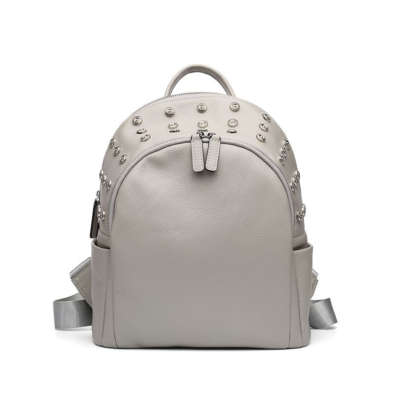 LOEIL Leather ladies shoulder bag female bag Korean version of the first layer of leather fashion college wind rivet backpack qiaobao 2018 new korean version of the first layer of women s leather packet messenger bag female shoulder diagonal cross bag