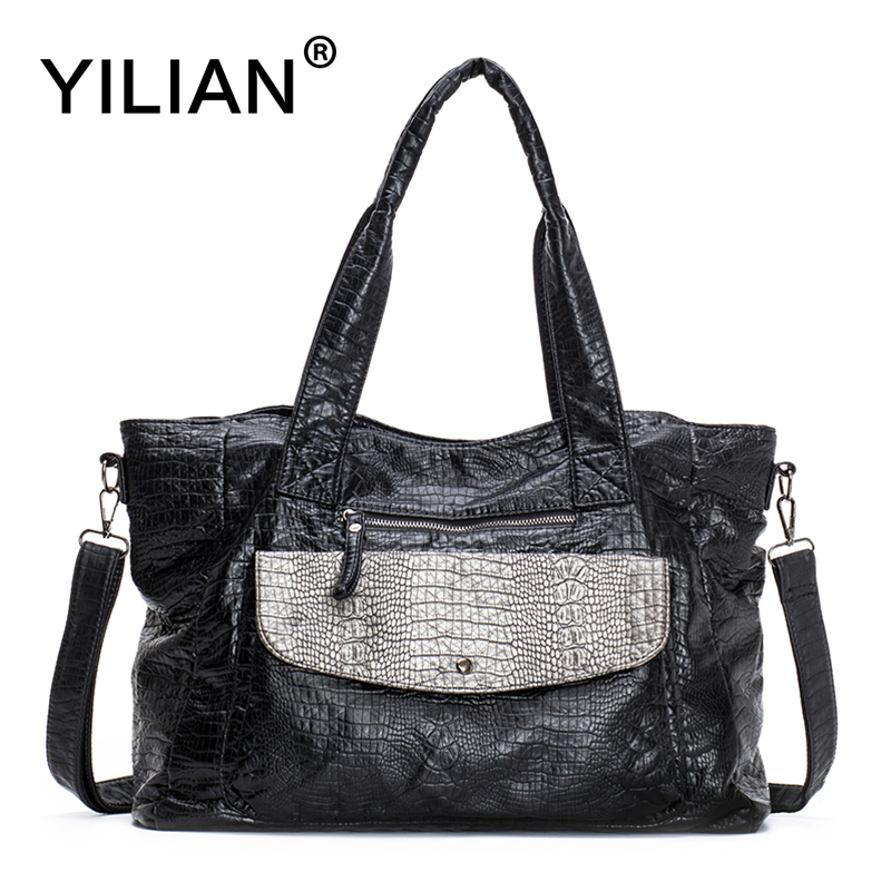 YILIAN Big Patchwork Handbags for Women Fashion Black Casual Tote Bag Female Totes Soft PU Natural Leather Bags 1840 big fashion women messenger bags soft pu black leather handbags crossbody bag for women girl summer clutches envelope small bag