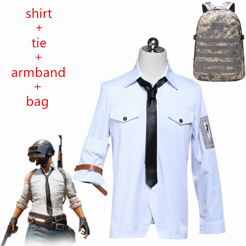 Game PUBG Playerunknown's Battlegrounds Cosplay Costumes White Shirts Man Woman Same Style Clothing High Quality Chicken Dinner