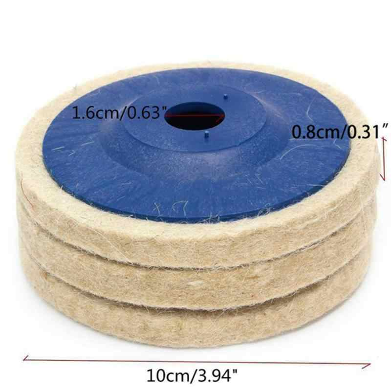 3 Pcs 100 Mm Bulat Polishing Roda Buffing Polisher Pad Buffer Alat Wol Roda untuk 100 Angle Grinder
