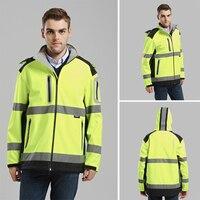 Men's yellow softshell jacket high visibility Reflective safety workwear