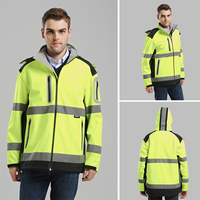 Men's yellow softshell jacket high visibility Reflective safety workwear