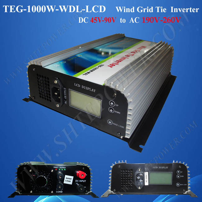 1000W dc ac converter power, 60V wind generator grid inverter, 45-90V DC to 190-260V AC inverter wind 1KW solar power on grid tie mini 300w inverter with mppt funciton dc 10 8 30v input to ac output no extra shipping fee