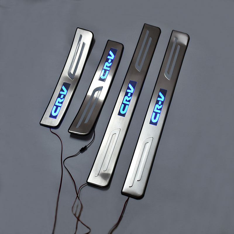 car styling Car Accessories LED Stainless Steel Door Sill Plate Welcome Pedal fit For Honda CR-V CRV 2007 2008 2009 2010 2011 fit for volkswagen vw tiguan rear trunk scuff plate stainless steel 2010 2011 2012 2013 tiguan car styling auto accessories
