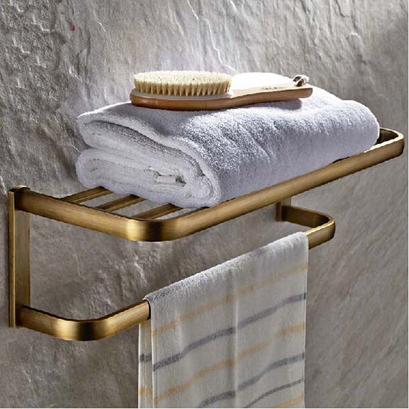 Wholdsale And Retail New Antique Brass Wall Mounted Bathroom Shelf Towel Rack Holder With Towel