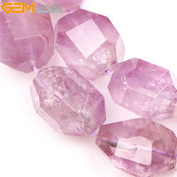 Gem Inside Natural Faceted Freeform Light Purple Amethysts Beads For Jewelry Making Strand 15inches 17x25mm DIY