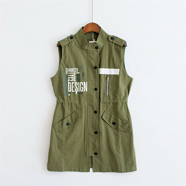 3 Colors Turn Down Collar Army Green Vest Women Blouse Casual Zipper Letter Pocket Black Fashion Ladies White Vests 2017