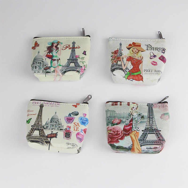 Monedero Vintage Paris Effel Tower Coche Rojo Retro Monedero Lindo Monedero Retro Monedero con Hebilla Kiss-Lock Portatarjetas peque/ño Monedero