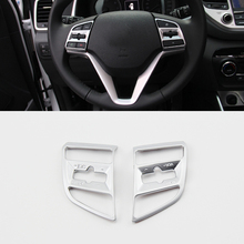 цена на For Hyundai Tucson 2015 2016 2017 2018 Accessories ABS Chrome Steering Wheel Cover Trim Sticker Car Styling 2Pcs