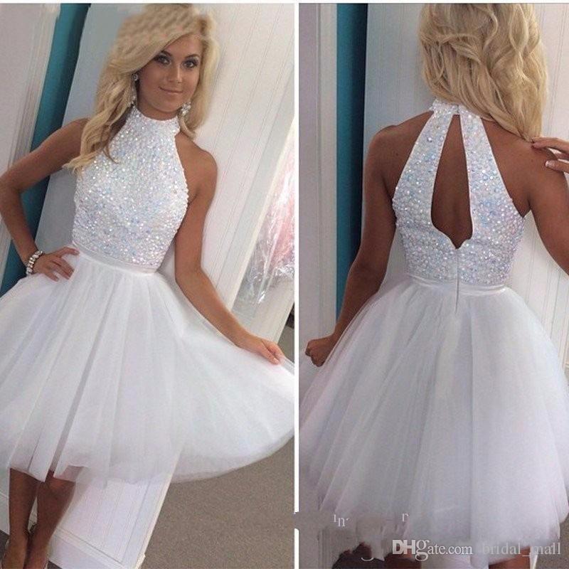 2017 Halter short white homecoming dress beaded shiny crystal prom ...