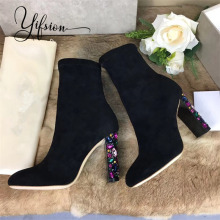 YIFSION New Fashion Genuine Leather Women Ankle Boots Round Toe Slip On Thick High Heel Women Autumn Winter Boots Shoes Woman wetkiss fashion patchwork genuine leather autumn winter boots charming ankle boots side zipper women s high hoof heel shoes new