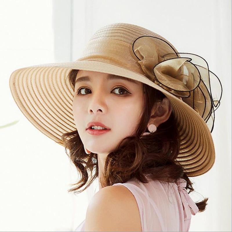 Women Vintage Organza Sun Hat Floral Ruffles Summer Beach Hat Wide Large Brim Tea Party Wedding Sun Hat Cap Sunbonnet